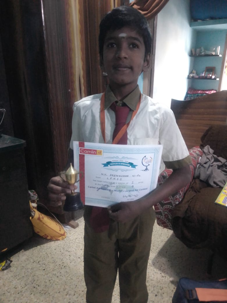 winning certificate to me little flower hr sec school salem word larget art contest 1st prize